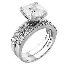 Sterling Silver Cz Ring Set with an 8MM Princess Cut Cz, Ring Width of 9MM 141