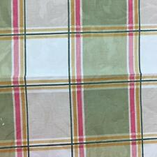 Green Pink Gold Plaid, Floral Embossed Cotton Drapery Fabric By The Yard 54""