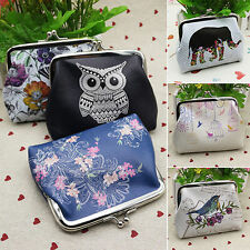 Fashion Owl Flower Wallet Key Card Holder Case Coin Purse Clutch Handbag Bag
