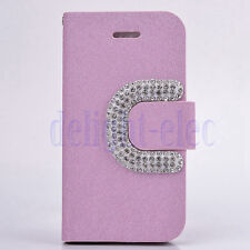 Bling Crystal Rhinestone Luxury Flip Wallet Leather Case Cover for iPhone 5c DE