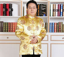 Yellow Red Chinese Men's Silk Clothing Jacket/coat SZ: M - XXXL Birthday Coat