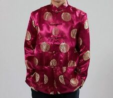 Dark Red Chinese Men's Silk Clothing Jacket/coat SZ: M - XXXL Birthday Coat