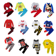 Kid Baby Boy Spiderman Captain America Costume Outfit Homewear T-shirt Top+Pants