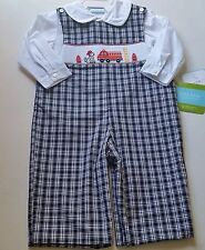 Boys VELANI smocked romper PETIT BEBE white dress shirt 12M & 3T fireman NWT