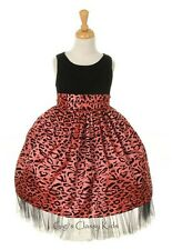 New Coral Black Leopard Animal Print Dress Party Christmas Easter Pageant 1224D