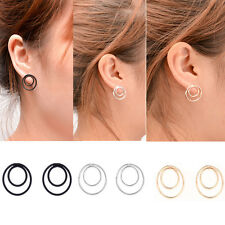 Women Double Circle Earrings Simple Style Geometric Shaped Ear Stud Punk new
