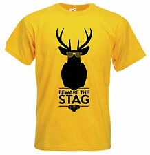 BEWARE THE STAG T-SHIRT - Funny Stag Party Do Wedding Hen - Choice Of 9 Colours