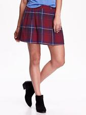 NEW Old Navy Women's Pleated Mini-Skirt - Red Blue Plaid