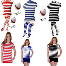 NEW LADIES WHERES WALLY STYLE T-SHIRT HAT GLASSES SOCKS TOP SET FANCY DRESS
