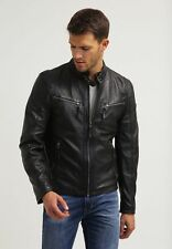 Mens Leather Jacket Black Slim fit Biker Motorcycle Genuine Leather Jacket MJ688