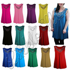 Ladies Beaded Diamante T-Shirt Womens Sleeveless Stud Vest Top Plus Size 14-28