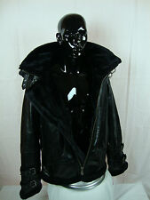 Mens B-3 Leather Bomber Jacket Real Lamb Skin Leather W/Faux Fur Lining BLACK