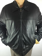 DOCKERS Genuine Leather Bomber Jacket Black Soft Lamb Skin 100% AuthXLG