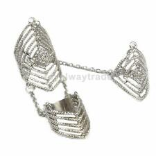 Rhinestone Full Finger Joint Chain Ring Armor Hollow Pattern Knuckle Rings
