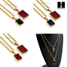 "316L STAINLESS STEEL ICED RUBY MINI RUBY PENDANT 24"" 30"" CUBAN CHAIN NECKLACE 47"