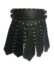 Sexy Men's Real Black Cow Leather Heavy Duty Gladiator Pleated Kilt LARP - B6
