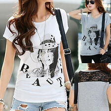 New Women Lace loose bat sleeve Girl Lady T-shirt Lycra Large Casual Top M-3XL