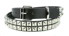 Studded Belt Double Row Punk Gothic Genuine Leather Heavy Duty Premium Usa Made
