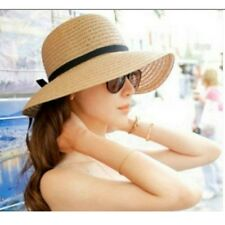 Women Large Wide Brim Summer Beach Sun Floppy Straw Bow Hat Bohemia Cap NEW