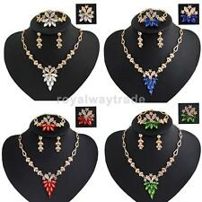 Wedding Bridal Crystal Rhinestone Necklace Earring Ring Bracelet Jewelry Sets