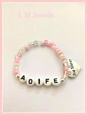 Personalised BIG Sister Girls Pink Name Bracelet Any Age Name Birthday Gift
