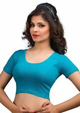 Indian Saree Blouse Turquois Cotton Lycra Tunic Party Wear Stretchable Choli Top