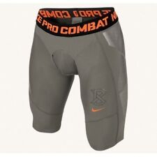 NIKE Pro Combat Hyperstrong Slider 1.5 Grey Orange Baseball Shorts NEW Mens L XL