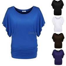 Women lady girl Casual O-Neck Batwing Sleeve Loose Solid T-Shirt Blouse tops