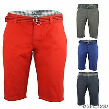 New Mens Belted Chino Shorts Summer Cotton Work Half Pants Designer Smart Casual