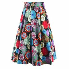 Fashion Women Stretch Floral Printed Skirt High Waist Pleated Casual Dress