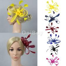 Women Fascinator Hair Clip Brooch Feather Cocktail Wedding Party Headpiece Decor