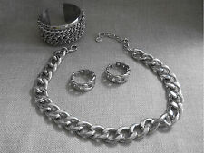 RJ GRAZIANO Signed Chunky Necklace Earrings & Cuff  Bracelet set Silver