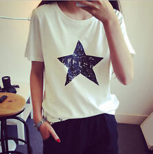 New Loose Top Pentagram Ladies Casual Shirt Hot Cotton Blouse Women Summer