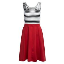 fashion Sexy Scoop Neck Sleeveless Stripe Print Hollow A-line Mid-calf Dress