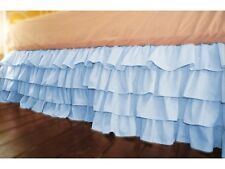 "Stylish 1-QTY Multi Ruffle Bed-Skirt/Valance Drop 8"" To 20"" Light Blue Solid"