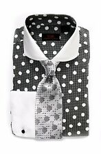 Dress Shirt by Steven Land Spread Collar Rounded French Cuff-Black/Wht-DW1600-BK