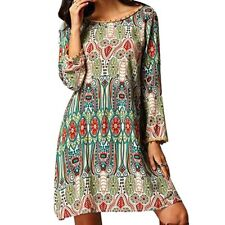 Ethnic Style Women Tribal Print Tassel Dress women beachsummer chiffon dresses
