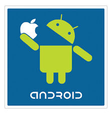 Android Robot Eating Apple Logo Vinyl Sticker (bumper, iphone, case, window)