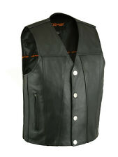 Mens Black Leather Buffalo Nickel 4 Snap Vest w Gun Pockets