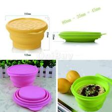 Silicone Folding Cup Bowl Set Collapsible BBQ Travel Camping Telescopic Dish Lid