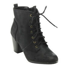 Women's Distressed Lace Up Stacked Chunky Heel Ankle Booties BLACK;COGNAC;TAUPE