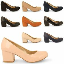 NEW WOMENS CASUAL LOW MID BLOCK HEEL SLIP ON LADIES PARTY PUMPS COURT SHOES
