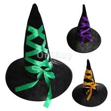 Black Women Sorceress Witch Hat with Ribbon Halloween Costume Accessory Prop