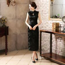 Black Women's Sleeveless Silk Evening Dress Long Cheongsam SZ 6 8 10 12 14 16