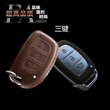 Car Remote Key Fob Top Leather Case Holder Cover Chains For HYUNDAI Remote Key