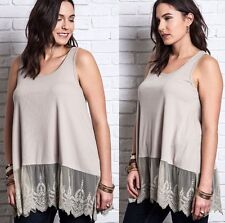 Umgee Taupe Tank top Cotton Poly Boho Soft Ribbed Knit Tank Medium Med M