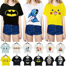 Womens Cartoon Emoji Tank Tops Blouse Baggy Crop T-Shirts Short Sleeve Blouses