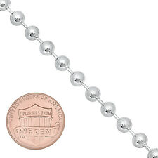 5mm Real 925 Sterling Silver Men Thick Classic Round Military Dog Tag Ball Chain