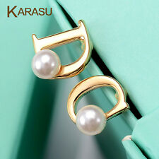 Real Gold Plated Letter D Simulated Pearl Stud Earrings Women Piercing Jewelry