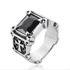 Size 7-13 Men's Fashion Black CZ Stone Cross Ring Stainless Steel Band Punk